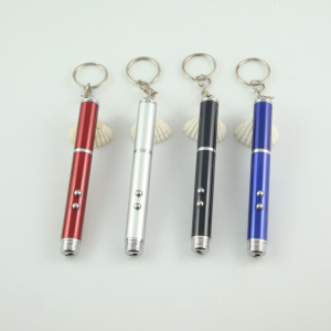 Multifunctional double LED lights laser pen pocket size mini ball pen with key chain small electric torch laser pointer