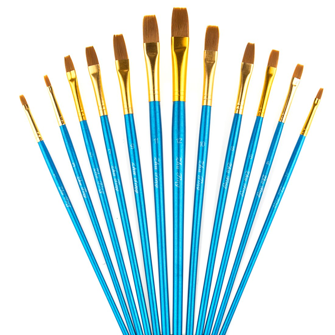 STARVAST Painting Brushes, 12pcs Professional Flat Paint Brush Set for Watercolor, Oil, Acrylic, Crafts, Rock, Face Painting and Gouache - Blue