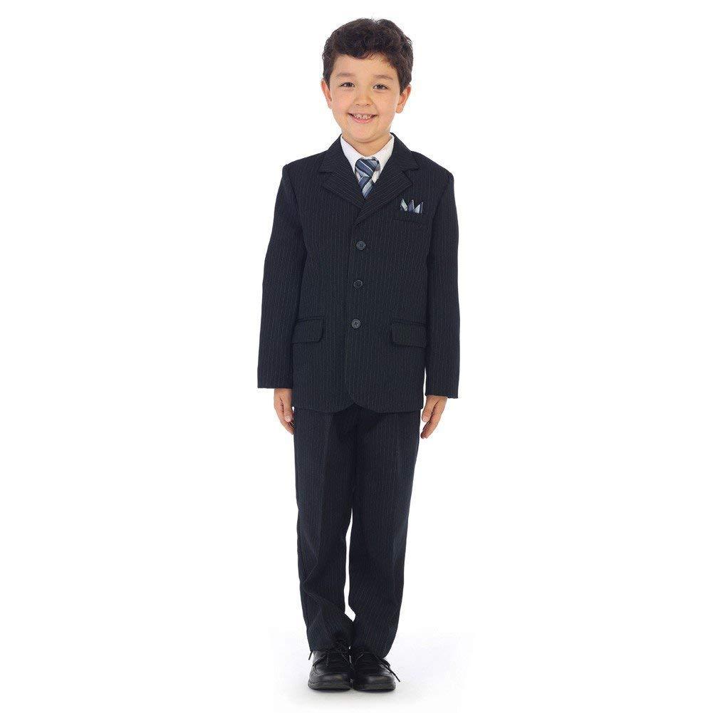 13fa7cc4ec30d Get Quotations · Angels Garment Little Boys Navy Pinstripe Jacket Pants  Vest Shirt Tie Suit 2-7