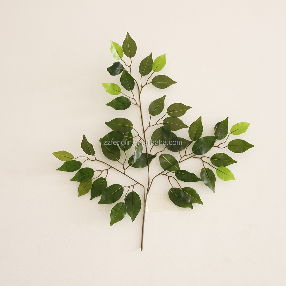 Decorative Artificial Banyan Leaves Latex Branch leaves cheap wholesale