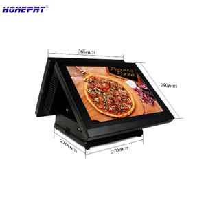 HSPOS stock 15Inch PC pos all in one register with dual touch screen for supermarket retail shops