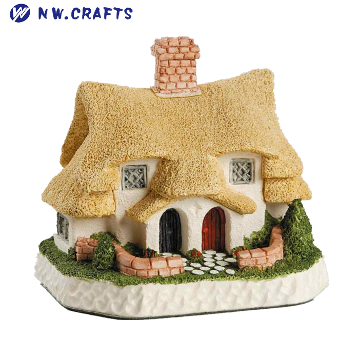 Devoted Miniature Dollhouse Village Medieval Hut Design Grass Thatched Roof Resin New Antiquities Antiques
