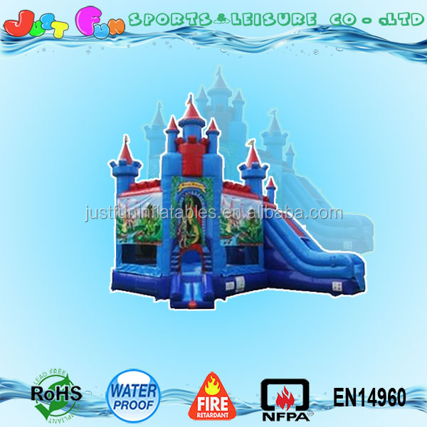 Hot sale bouncy castle with slide combo, knight against dragon theme castle designs best price