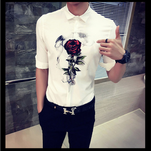 OEM Custom Rose Printing 100% Cotton White T- shirt Men Wholesale Plain Polo Shirt