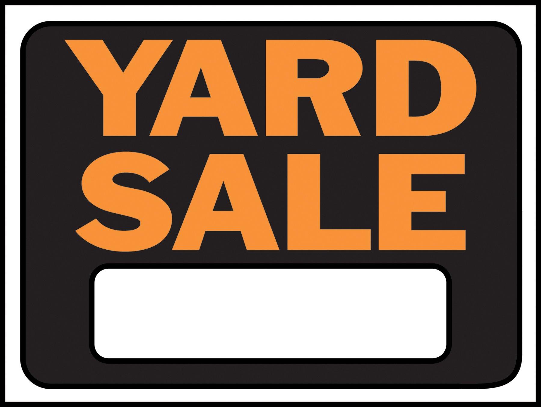 "Hy-Ko Products 3033 Yard Sale Plastic Sign 8.5"" x 12"" Orange/Black, 1 Piece"