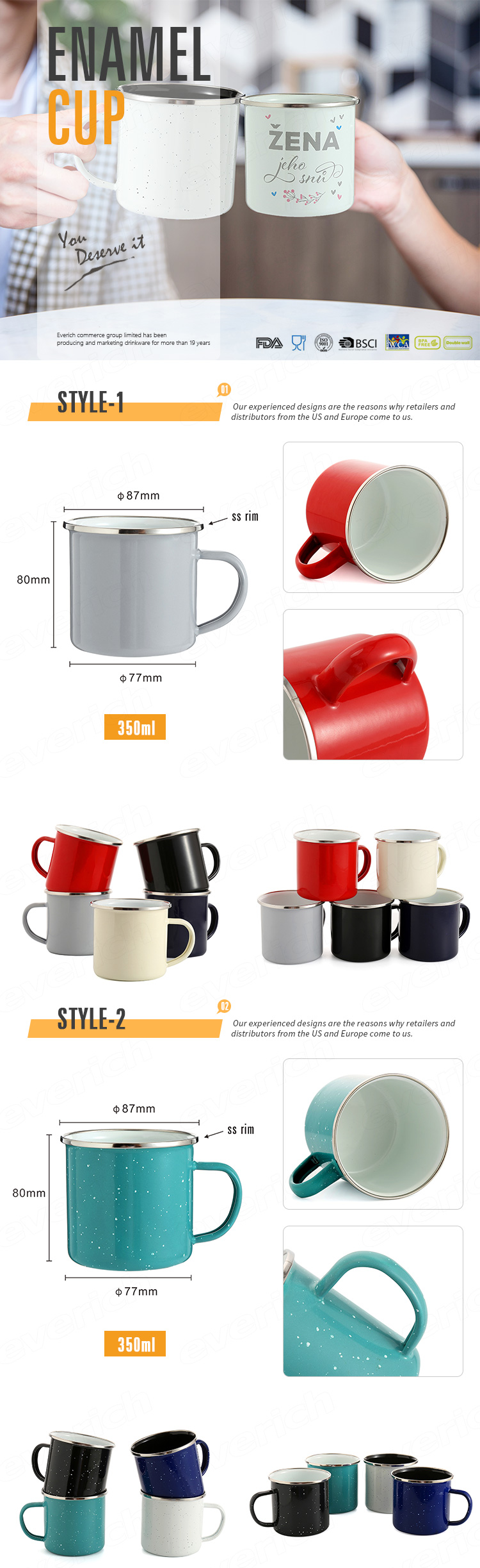 outdoor high quality Customized Printed Colorful Sublimation or Logo printing Custom Camping Enamel Mug