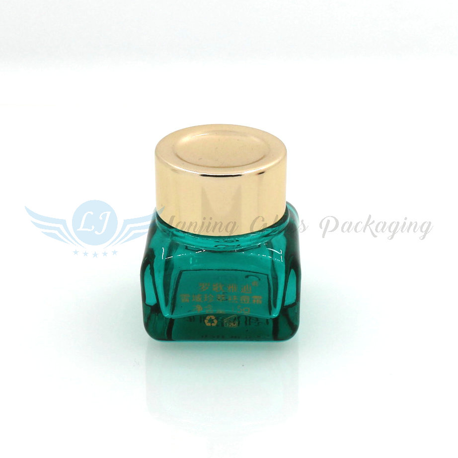 15g 20g Fancy luxury cosmetic packing square clear/green cream glass jar with gold lid