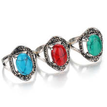 Vintage Bohemia Style Big Gemstone Women Ring 3 Colors Turquoise Hollow Out Ring