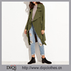2017 New Arrival high quality top fashion ladies ladies Olive Green Wrap Trench Coat With Gun Flap Detail