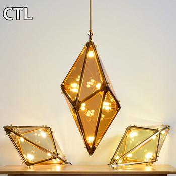 Italian style glass chandelier with GU9 LED polygonal glass dining chandelier