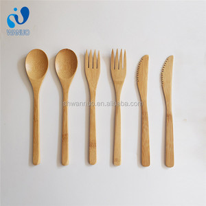 WanuoCraft Reusable Biodegradable Compostable Dinnerware Forks Spoons Knives Bamboo Cutlery Set