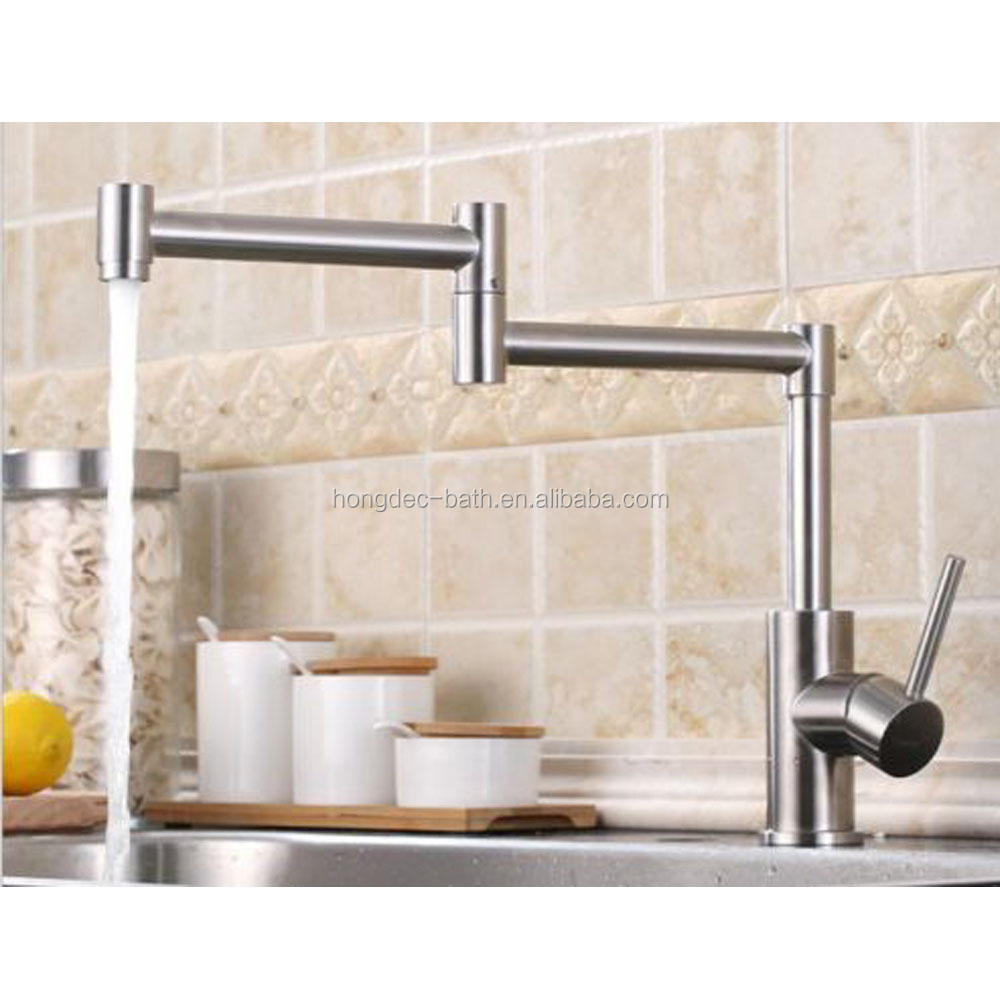 SUS 304 Stainless Steel Adjustable Single Handle Faucet Folding Swing Arm Kitchen Faucet