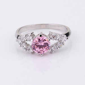 Brass Love Pink Cubic Zirconia Rings