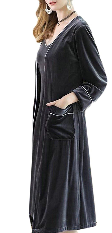 Get Quotations · ZXFHZS Womens Velvet Bathrobe Belted Plush Kimono Robe  Sleepwear 23a508957