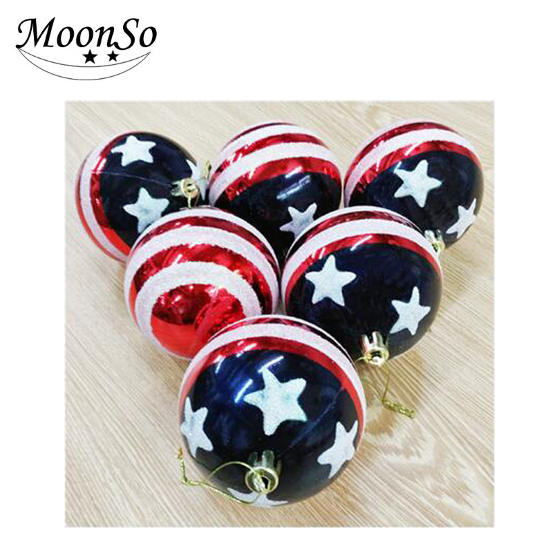 The Decorative 8cm United States flags painte Ball christmas tree decoration Handmade Wholesale Christmas Decorations A4616