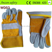 "high quality 10.5"" yellow heated ladies short leather gloves"