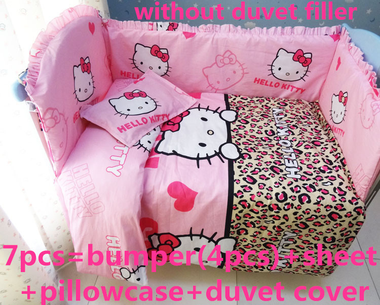 Discount 6 7pcs Hello Kitty Baby Bedding Set for Crib Newborn Baby Bed Linens for Girl