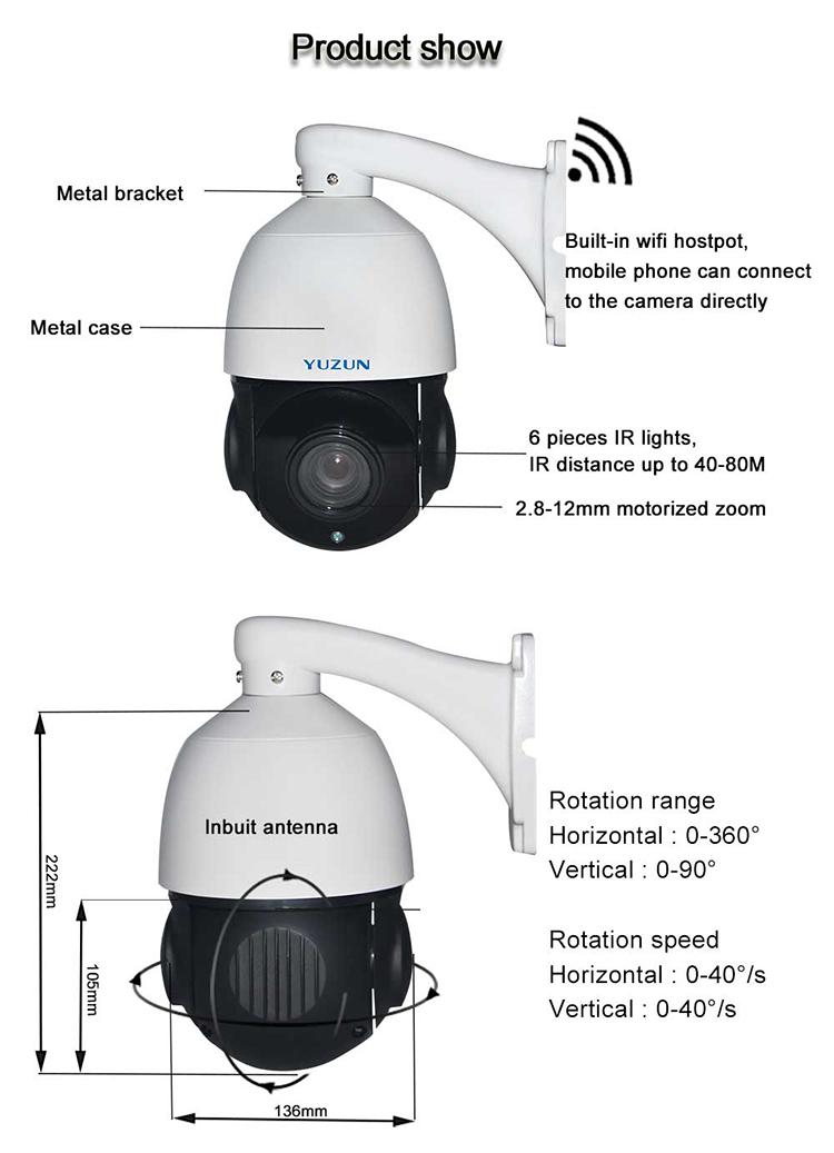 80m IR distance p2p wifi security 4x ptz camera 360 AP mode widi ip speed dome cctv camera