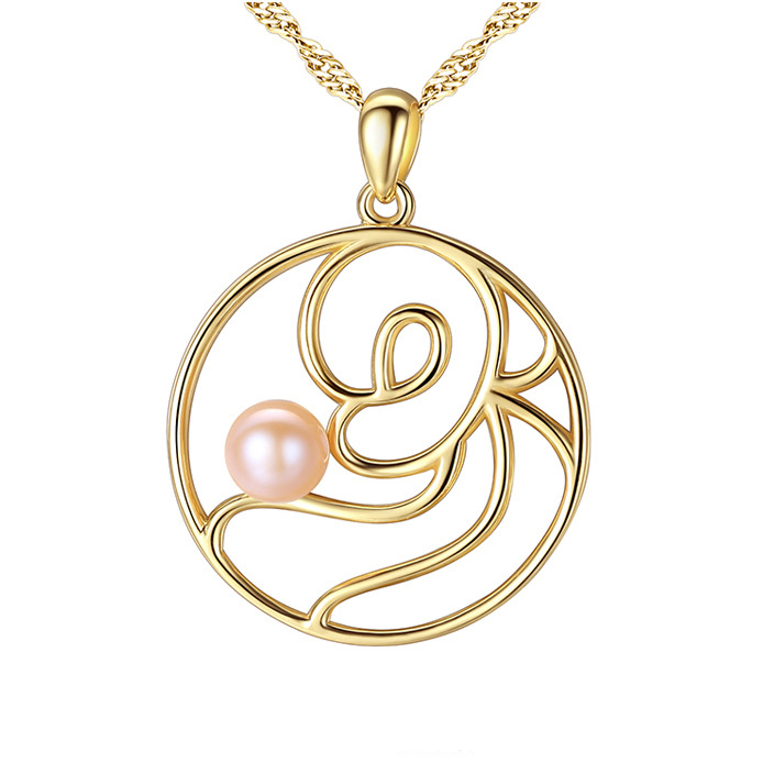 18 k Gold-plated Women Inlay CZ and Freshwater Pearl Luxury Necklace