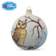Custom frosted owl painted handmade glass Christmas tree decorations ball ornaments