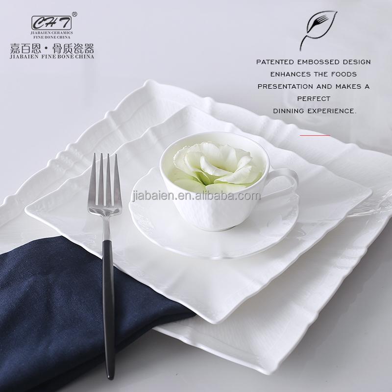 d90bb78876d2 Fine Bone China Dinnerware Set Square Dinner Plates For Restaurant ...