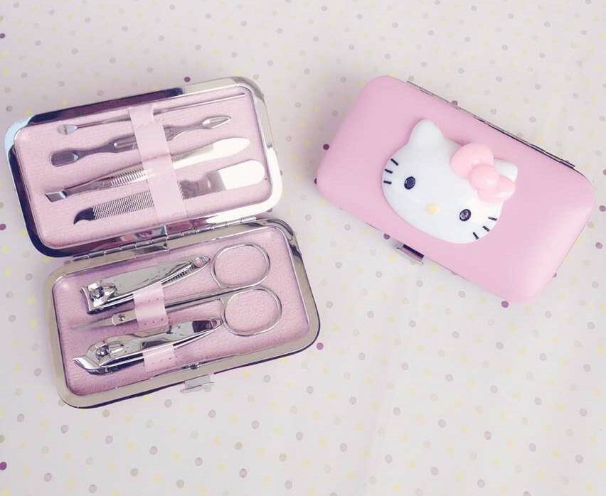 Cute cartoon hello kitty nail tools set stainless steel nail clipper set lovely nail clippers kawaii