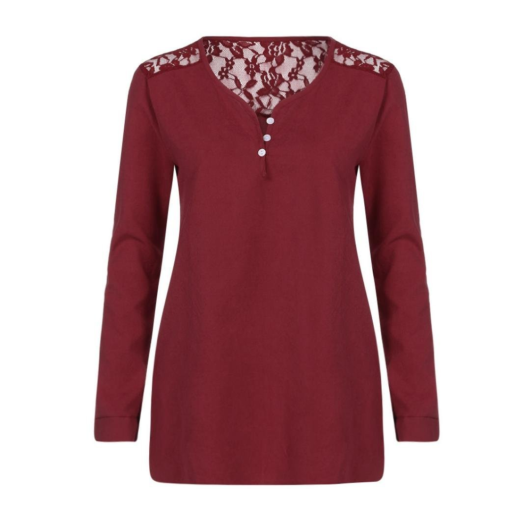 Women Blouse, ღ Ninasill ღ Hot Sale ! Button Long Sleeve Lace Patchwork Tops T Shirt Tank (S, Wine Red)