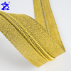 Customized new 5# gold cloth gold tooth imitation metal nylon zipper