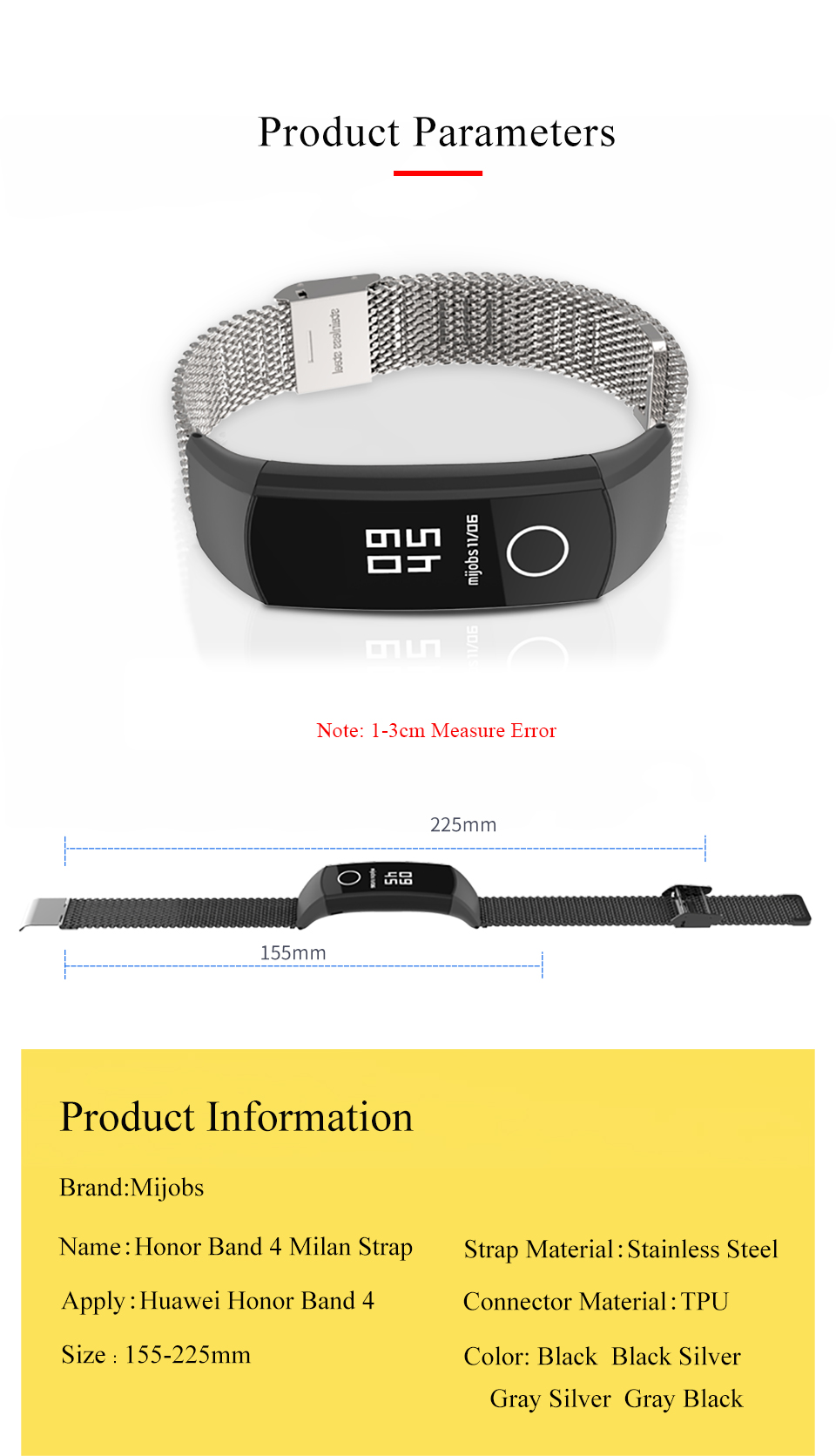 Mijobs Stainless Steel Bracelet  Watch strap Band  For Huawei honor band 4  watch strap