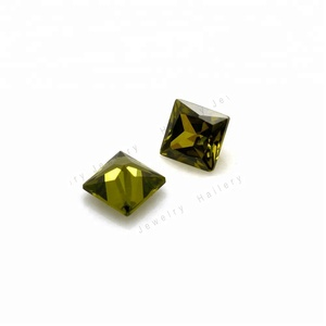 Wholesale 3x3mm princess cut gemstone synthetic peridot