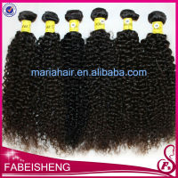 Most popular top quality natural color curly 100% virgin kinky hair brush extension