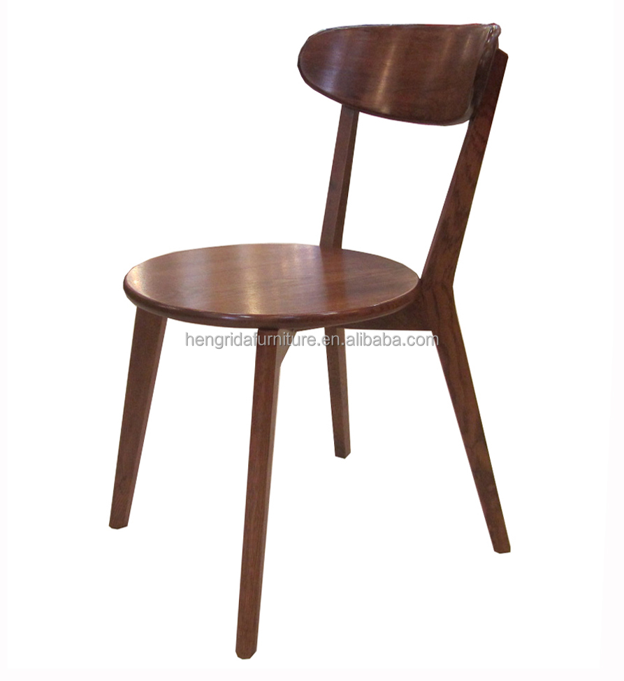 Retro solid oak wood high back dining chair in dark brown paint