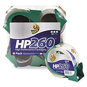 "Duck : HP260 Packaging Tape with Dispenser, 1.88"" x 60 Yard, 3"" Core, 4 per Pack -:- Sold as 2 Packs of - 4 - / - Total of 8 Each"