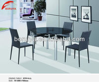 extendable glass round table/ cheap wholesale furniture dining table set