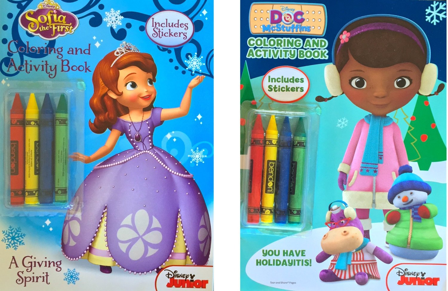 Christmas Children's Coloring Book Gift Set Includes Sofia the First Coloring and Activity Book with 2 Sticker Sheets Inside, Doc Mc Stuffins Coloring and Activity Book with 2 Sticker Sheets