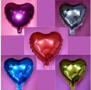 free shiooing 50pcs lot 10inch Metallic heart shape Solid Color foil balloons for party wedding decoration