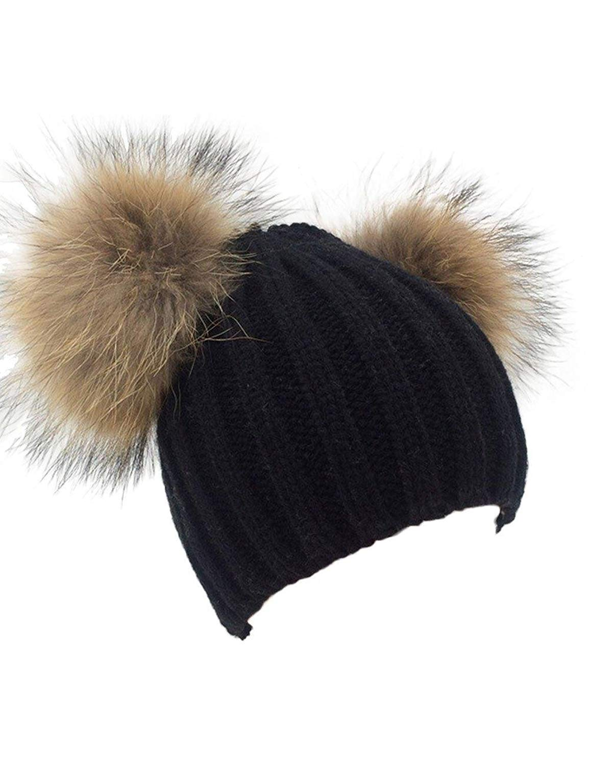 96d25fab9b7 Knitted Hat With Double Pom Pom