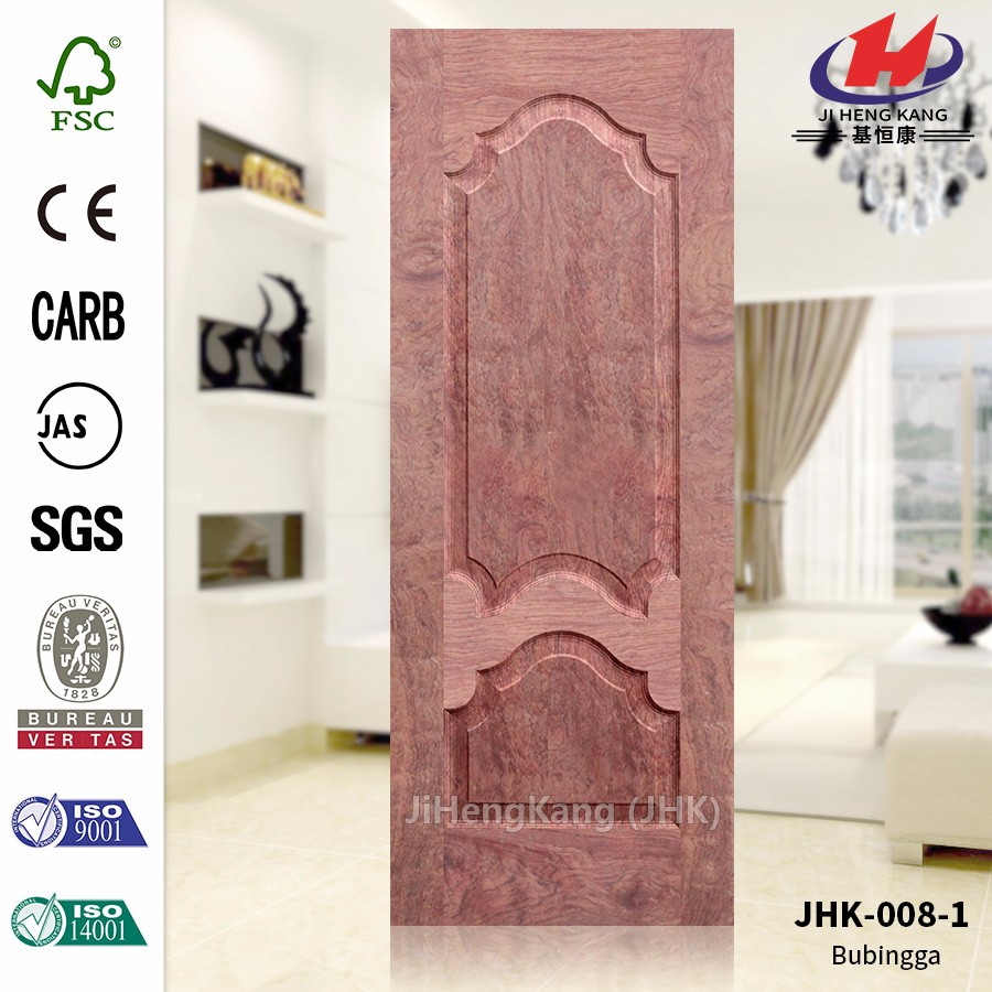 JHK-008-1 Popular Russia 8mm Deep Pressing Laminate Molded Veneer Bubinga MDF Door Sheet
