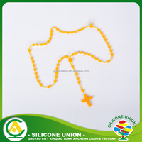 Food Grade Silicone Jewellery Chewable Teething Rosary Necklace