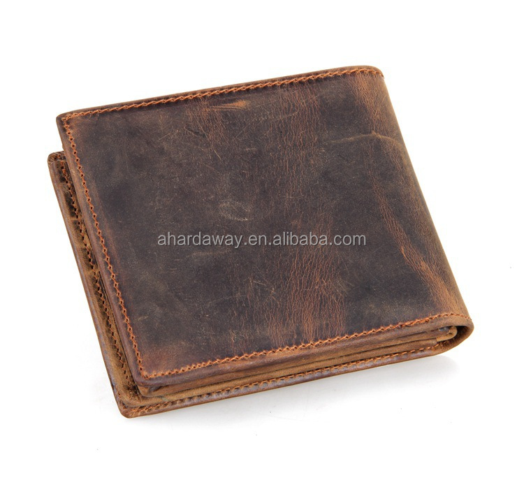 custom logo vintage brown genuine leather wallet for men with factory price