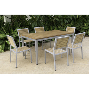 Patio funiture garden aluminum frame teak wood dining table and chair set