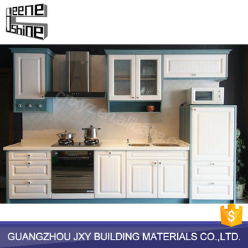 Cheap low moq white modular kitchen designs pvc kitchen for Cheap kitchen cabinets for mobile homes