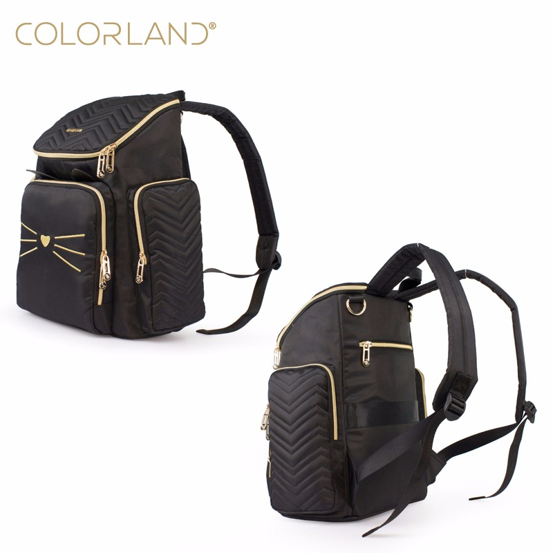 Mummy Bag Women Changing Backpack With Soft Quilt Material - Black