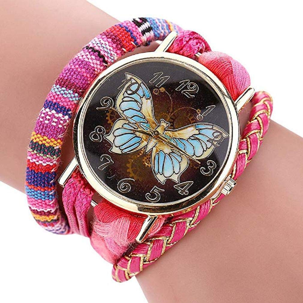 Womens Watches,Windoson Unique Analog Fashion Lady Watches Female Watches Casual Wrist Watches Women Comfortable PU Leather Watch (Hot Pink)