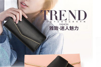 New fashion multi-color tri-fold European and American multi - function PU leather V shape buckle ladies long wallet baellerry-V
