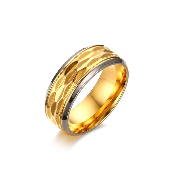 Women Men Wave Textured Rings Punk Gold Plated Stainless Steel Ring Engagement Wedding Lady Finger 8MM