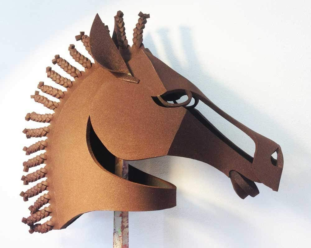 Horse mask Equus for theatre stage. Adult or child size, women or men. Costume masquerade mask animal head. Hand made by Tentacle Studio.
