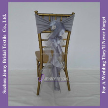 C308A Spandex Chair Sash With Buckle Fancy Ruffled Wedding Chair Sashes