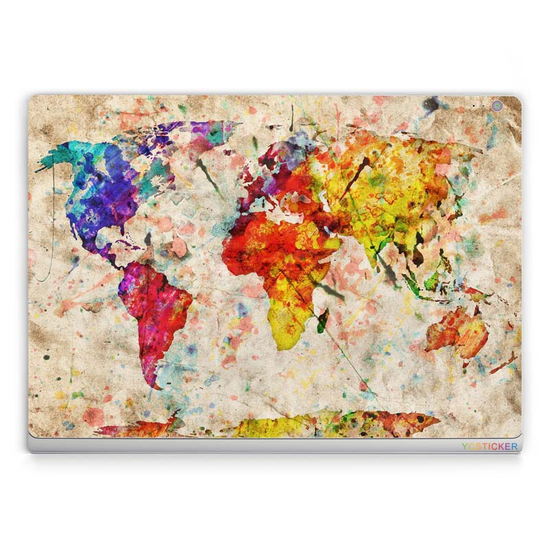 cool world map laptop stickers vinyl decal protective skin sticker for microsoft surface book