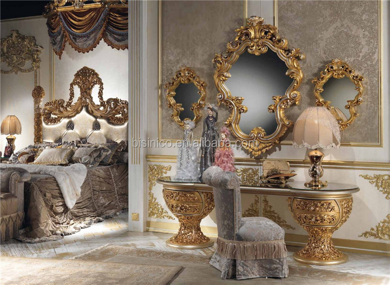 Luxury Castle Ancient Distressed Finished Dressing Table And Chair Set